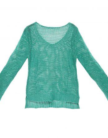 Damen Bändchengarn Pullover in Smaragd-Grün