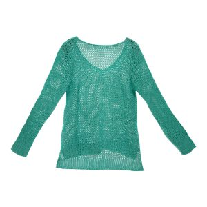 Damen Bändchengarn Pullover in Smaragd-Grün hinten